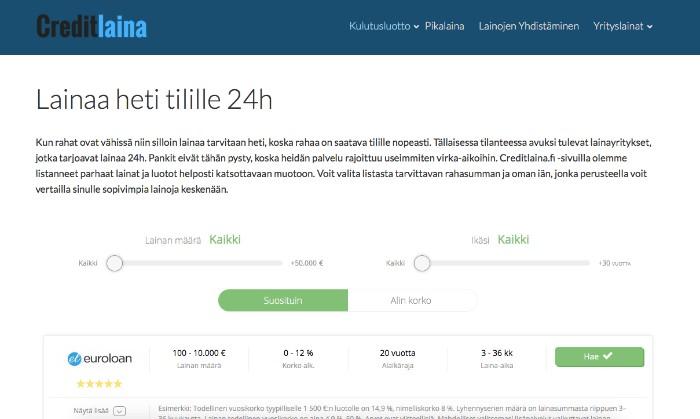 Creditlaina.fi -vertailusivu