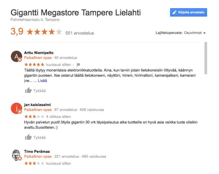 Tampereen Gigantti kokemuksia